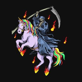 Grim reaper with unicorn illustration