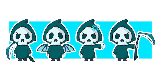 Grim reaper with wings holding scythe character illustration set.
