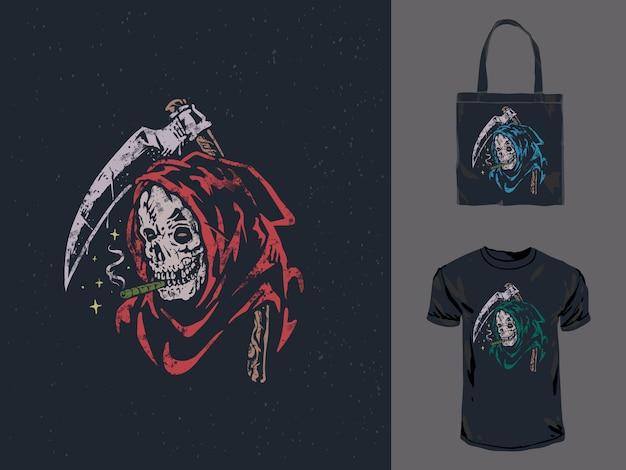 Урожай рисованной grim reaper дым сорняков иллюстрация