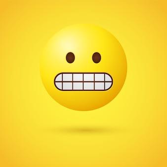 Гримасничающее лицо смайлика показывает стиснутые зубы
