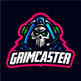 Grimcaster mascot gaming logo