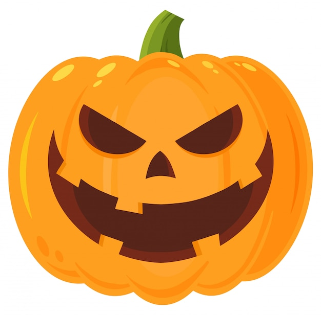 Grinning evil halloween pumpkin cartoon