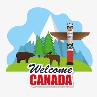 グリズリークマとムースカナダのシーンのベクトルイラストデザイン