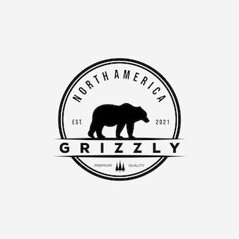 Grizzly bear badge logo vector illustration design. vintage bear symbol