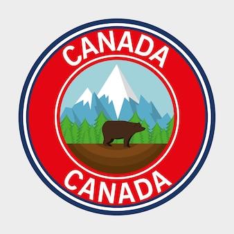 グリズリーベアカナダのフレームベクトルイラストデザイン