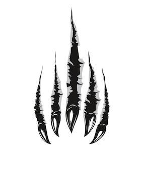 그리즐리 베어 발톱 자국과 긁힌 자국, 벡터 찢어진 야생 동물의 균열. 날카로운 균열 질감, 손상된 틈 및 속이 빈 스크랩, 흰색 배경에 검정색이 있는 발톱의 회색 곰 야수 발 자국