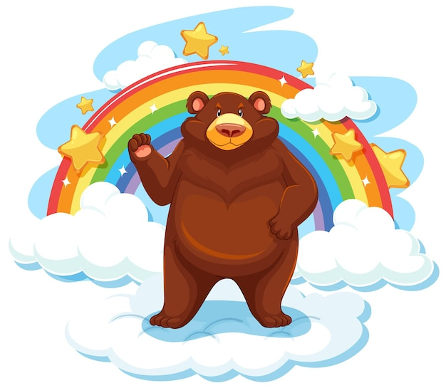 Grizzly bear on the cloud with rainbow