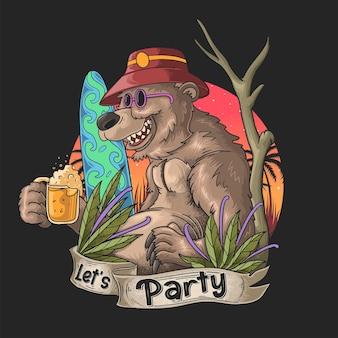 Медведь гризли пьет пиво и наслаждается летним отдыхом
