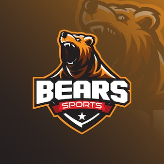 Grizzly bear mascot logo