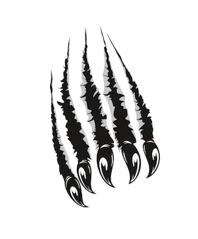 Grizzly bear, monster claws cutting paper or wall Premium Vector