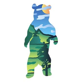 ハイイログマのベクトル図です。絵のように美しい風景、牧草地の丘と野生動物のシルエット