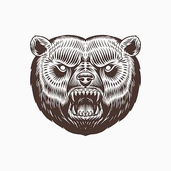 Бурый медведь гризли, изолированные на белом фоне