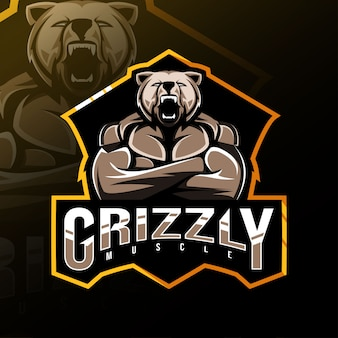 Grizzly muscle mascot logo esport