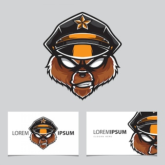 Grizzly police head logo name card  template