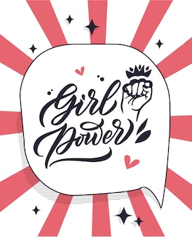 Фраза grl pwr, феминистский стикер цитат, слоган, рукописные надписи, креатив