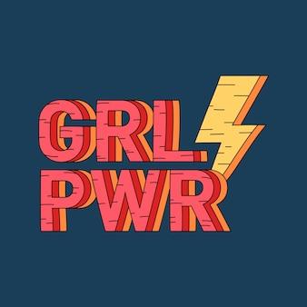 Grl pwr девушка значок вектора силы