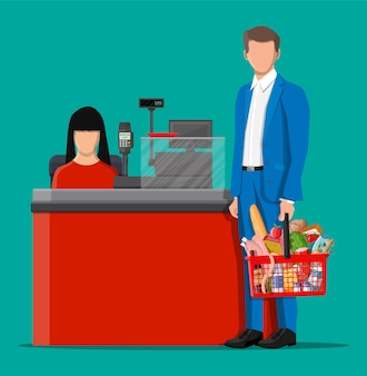 Groceries in checkout counter. grocery store collection. supermarket. fresh organic food drinks. milk, vegetables meat chicken cheese sausages, wine fruits, fish cereal juice. flat vector illustration