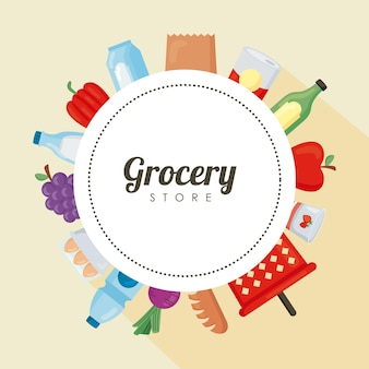 Groceries in circular frame around