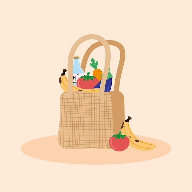 Groceries in ecology bag icons