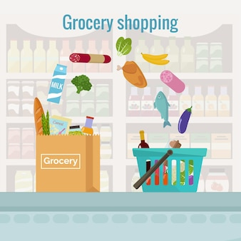 Groceries falling from a shopping basket into a paper bag. Premium Vector