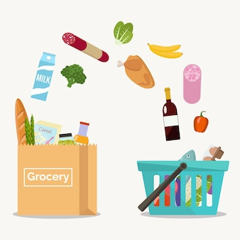 Groceries falling from a shopping basket into a paper bag.