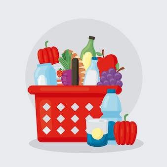 Продовольственные товары в иконах корзины супермаркета