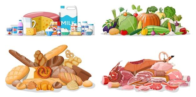식료품 세트입니다. 식료품점 컬렉션입니다. 슈퍼마켓. 신선한 유기농 식품과 음료. 우유, 야채, 고기, 치킨 치즈, 소시지, 샐러드, 빵 시리얼 스테이크. 벡터 일러스트 레이 션 평면 스타일