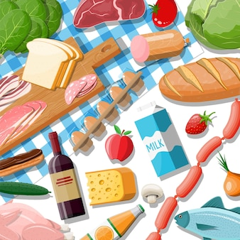 食料品セット。食料品店のコレクション。スーパーマーケット。新鮮な有機食品と飲み物。牛乳、野菜、肉、チキンチーズ、ソーセージ、ワインフルーツ、魚のシリアルジュース。ベクトルイラストフラットスタイル