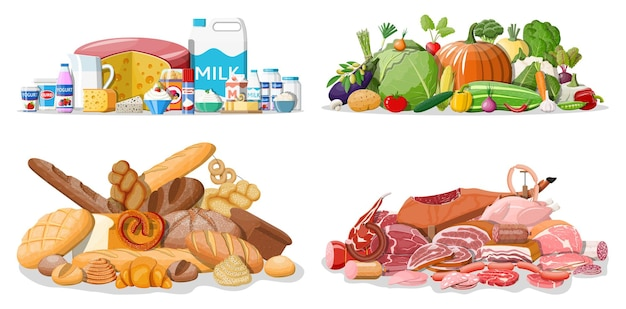 Groceries set. grocery store collection. supermarket. fresh organic food and drinks. milk, vegetables, meat, chicken cheese, sausages, salad, bread cereal steak. vector illustration flat style