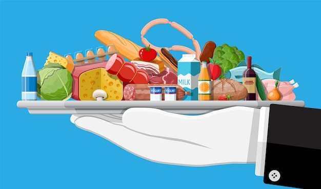 Groceries set. grocery store collection. supermarket. fresh organic food and drinks. milk, vegetables, meat, chicken cheese, sausages, wine fruits, fish cereal juice.