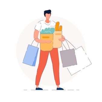 Groceries shopping.   buyer man person cartoon character holding shopping bags with groceries purchases. supermarket store shopper concept