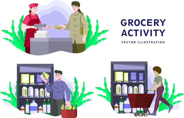 Grocery activity - activity vector illustration