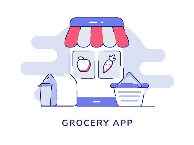 디스플레이 스마트 폰 화면 전자 상거래 식품 포장 음료 카트에 식료품 앱 개념 사과 당근