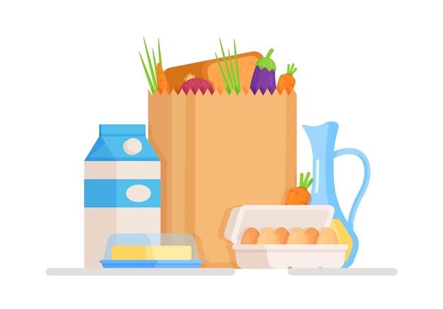 우유, 계란, 기름이 든 식료품 가방
