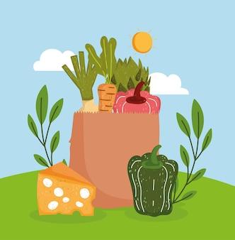 야채와 식료품 가방
