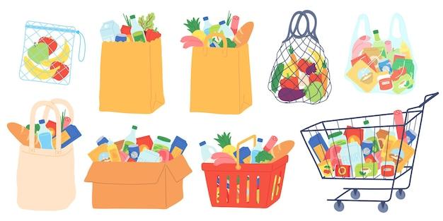 식료품 가방 및 카트. 쇼핑 바구니, 종이 및 플라스틱 패키지, 유기농 식품이 든 에코백. 슈퍼마켓 상품 및 식료품 벡터 세트입니다. 그림 바구니 가방과 음식 카트