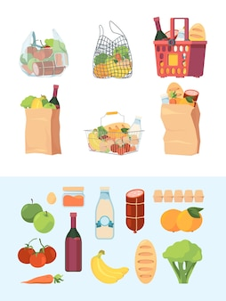 食料品の袋。ショッピングバスケット市場袋入り食品牛乳野菜肉ベクトルカラフルなセット。スーパーマーケットの小売りと市場の食品のイラスト