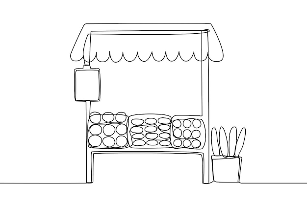 Grocery or bakery stall counter at marketplace line art vector illustration