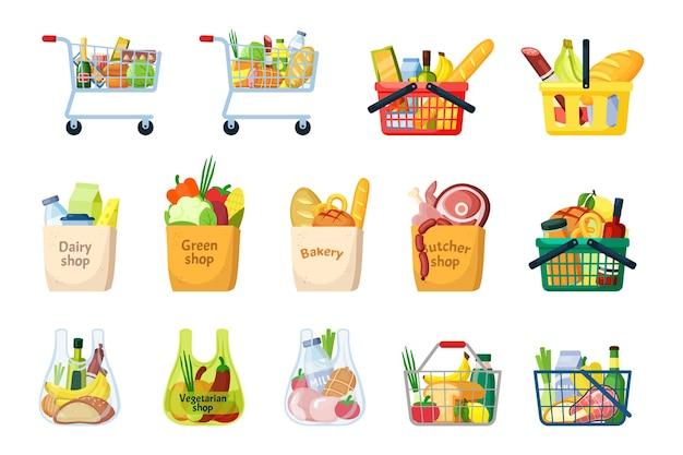 식료품 바구니와 쇼핑백 세트