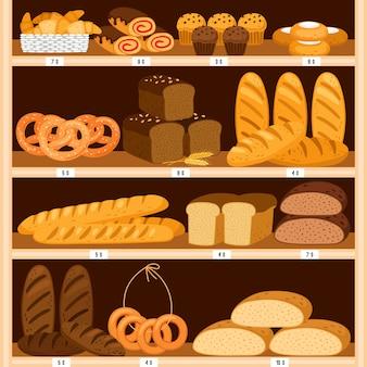 食料品のパンの棚。パンと焼きたてのペストリーの木製ショーケース、木製インテリアのベーカリー製品。ベーグルと茶色のスライスしたパン、ドーナツ、チーズケーキ