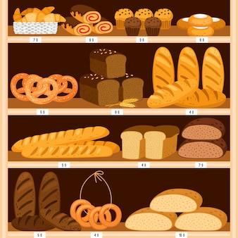Grocery breads shelves. bread and fresh pastries wood showcase, bakery products in wooden interior. bagel and brown sliced loaf, donut and cheesecakes