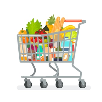 Grocery cart from the supermarket with products.