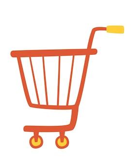 Продуктовая тележка. корзина для покупок в супермаркете. линейный знак стиля для мобильной концепции и веб-дизайна