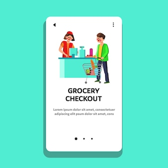 Grocery checkout cashier selling products