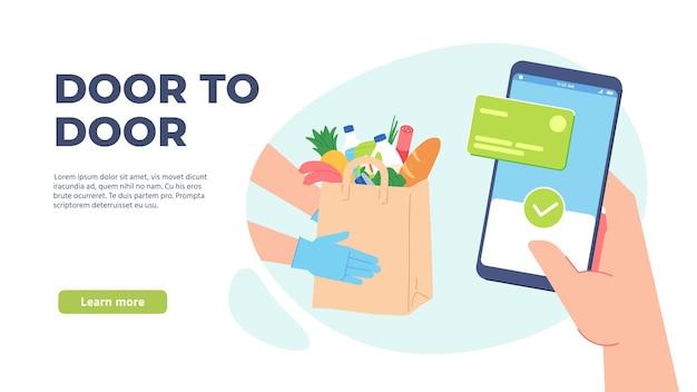 식료품 배달. 슈퍼마켓에서 온라인 주문. 장갑을 낀 택배 손은 음식이 담긴 종이 봉지를 들고 있습니다. 격리는 벡터 개념을 안전하게 전달합니다. 일러스트레이션 슈퍼마켓 배달 서비스, 식료품 온라인