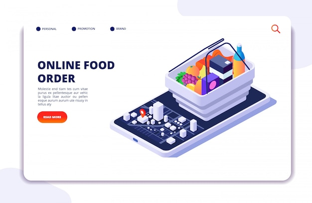 Grocery food delivery landing page
