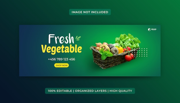 Grocery food facebook cover design template