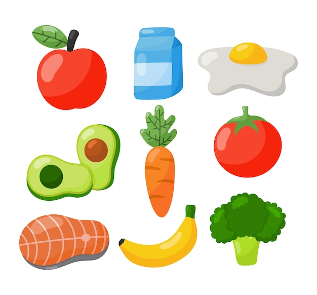 Grocery food icons isolated