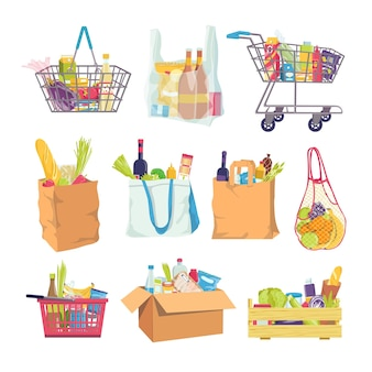 Grocery food in shop basket and cart