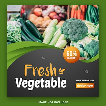Grocery food social media banner template Premium Vector
